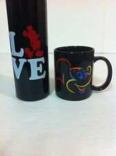 Disney, Mickey Mouse, Black Ceramic mug and Black Aluminum Water Bottle,