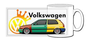 VW golf mug, harlequin, classic car, gti, mk1, mk2, mk3, mk4, mk5, vr6, r32,