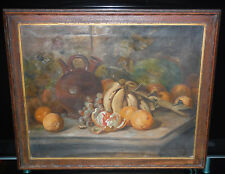 Antique Original Oil on Canvas Still Life Fruit Painting Signed Framed