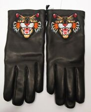 New Gucci Leather Gloves Embroidered Angry Cat Black Multi Sz 8 $600 New w/box