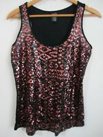 RUE21 Womens Sequin Front Sleeveless Tank Tee Shirt Top Size M Scoop Neck Rayon