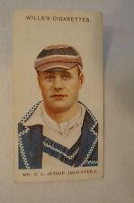 1908 Vintage Wills Cricket Card - G.L. Jessop - Gloucestershire.