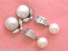 VINTAGE 3.1ctw DIAMOND 12mm MABE 9mm SALTWATER PEARL CLIP EARRINGS 1950