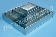"""6 TIER HEAVY DUTY SQUARE CHRISTMAS CAKE TINS 6"""" to 16""""  ( 6.8.10.12.14.16 )"""