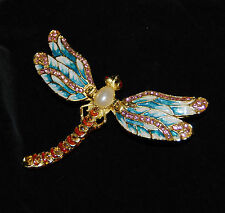 Brand New DRAGONFLY Limoge style enameled & bejeweled trinket box FREE SHIPPING!