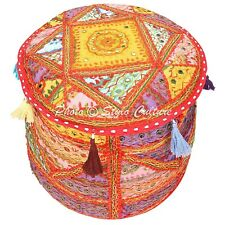 Ethnic Vintage Pouffe Foot Stool Cover Round Embroidered Ottoman Seat Mirrored