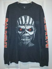 New Iron Maiden Eddie Double Logo Adult Large Long Sleeve Metal T-shirt