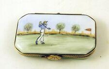 New Father's Day Sports French Limoges Trinket Box Golf Box w Shoes & Golf Club