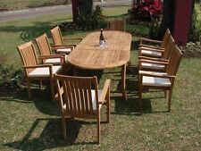 11 PC DINING OUTDOOR TEAK STACKING ARM CHAIRS PATIO FURNITURE - CAHYO DECK C01