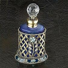 NEW BLUE FLORAL DECORATIVE METAL FRAME SCREW-ON CAP FROSTY GLASS PERFUME BOTTLE