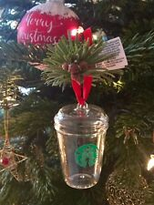 STARBUCKS 2016 GLASS CHRISTMAS TREE ORNAMENT/BAUBLE. BRAND NEW. MADE IN CHINA.