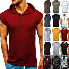 Men Vest Sleeveless Hooded Hoodie Tanks Sports Fitness Muscle Gym Casual T-Shirt