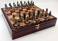 """SKELETON SLAYER GOTHIC FANTASY SKULL Chess Set Cherry Color STORAGE BOARD 17"""""""