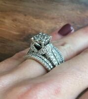 3ct Round Diamond Engagement Ring Wedding Band Set 14K White Gold Finish