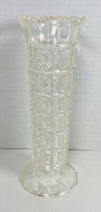 "Vintage Regaline Clear Acrylic Hard Plastic Embossed Pedestal Flower Vase 8"" USA"