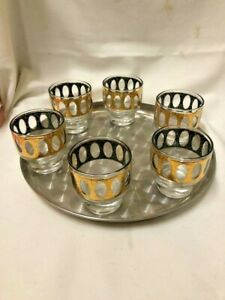 Low Ball Tumblers Glasses Tray Set MID Century