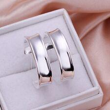Fashion 925Sterling Solid Silver Jewelry Bright Circel Hoop Earrings Women E078