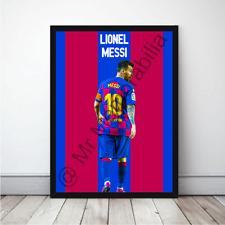 More details for lionel messi in barcelona 19/20 football gift framed cartoon poster