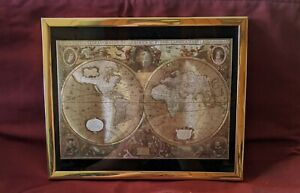Manifestations Optical Illusionary Foil Art World Map Picture 1980' Den Man Cave
