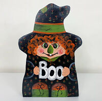 Halloween witch boo figure tole handpainted wood carved decoration handmade