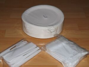 100 Pappteller 23cm-Einweg -Party-/Imbissteller + 100 Messer + 100 Gabel Besteck