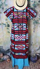 Traditional Usila Huipil Kaftan Dress Hand Woven Tuxtepec Oaxaca Mexico Folk Art