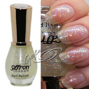 Saffron Iridescent GLITTER Nail Polish Crystal Top Coat #67 Lunar Lights