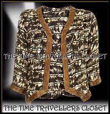 Kate Moss Topshop Embellished Silk Black White Stripe Feather Bolero UK 12 £120