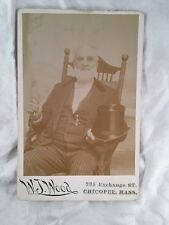 Man in Rocking Chair Chicopee MA Massachusetts Vintage Old Antique Cabinet Photo