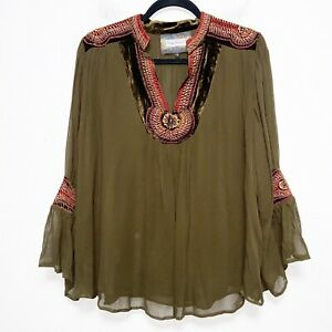 Vintage Collection Womens Size M Olive Embroidered Beaded Blouse Top