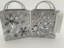 Costco Metal Tealight Candle Holder Galvanized Metal Look Bag/ snowflake/bear