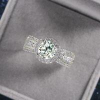 Frauen Edelstahl + Zirkon Ring Weißgold Farbe Ehering Größe 6-10 F8H3 A7D7