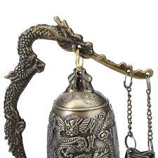 Vivid Classique Bronze Verrou Dragon Sculpté Bouddhiste Cloche Chine Artware