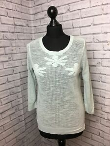 Laura Ashley Size 10 Mint Green 100% Cotton Loose Knit Jumper With Flower Detail