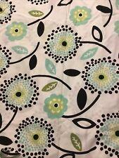 Pottery Barn PB TEEN Full/Queen Size Duvet Cover WHITE W/ Aqua/Black/Green Flora