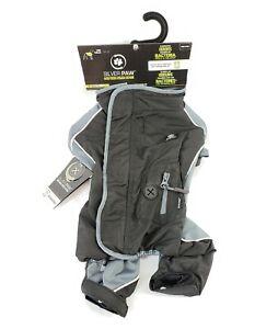 Silver Paw Black Gray Full Body Pet Dog Rain Suit Coat Anti-Odor Pet Shield Sz M