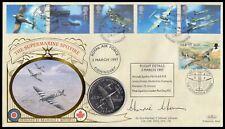 WWII Ace AVM JOHNNIE JOHNSON Signed 1997 Supermarine Spitfire Coin Benham FDC