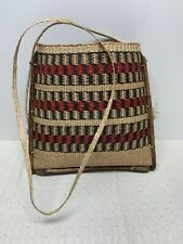 Vintage Wicker Woven Bag Pouch Wall Decor Bamboo Boho Natural Handmade