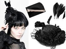 Mini chapeau gothique lolita victorien paillette dentelle plumes fleur Punkrave