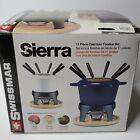 Swissmar Sierra 1.6-Quart Cast Iron Meat Fondue Set 11-Piece Blue Open Box