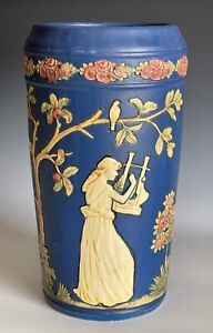 """Large Antique Weller Blue Ware Classical Grecian Maiden Figural Vase Approx. 12"""""""