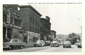 NH, Woodsville, New Hampshire, Central Street, 1950's cars, Merrimack Post Card
