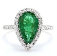 3.10 Carat Natural Emerald and Diamonds 14K Solid White Gold Women's Ring