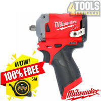 """Milwaukee M12FIW38-0 12V Li-ion FUEL 3/8"""" Impact Wrench With Free 5m/16ft Tape"""