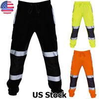 Mens Work Reflective Pants Hi Viz Waterproof Rain Over Trousers High Visibility