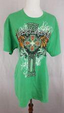 IRELAND CELTIC CROSS DISTRESSED T SHIRT MEN'S SIZE LARGE GREEN SHIRT GILDAN