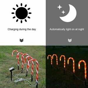Solar Powered Christmas Xmas LED Candy Cane Stake Pathway Lights Outdoor Garden