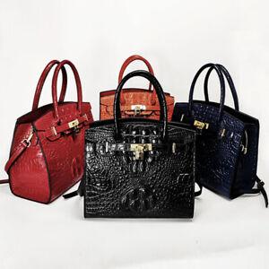 100% Genuine Leather Women's Elegant Crocodile Handbag Satchel Tote Shoulder Bag