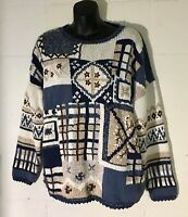 Vintage 1995 Heirloom Collectibles Womens Knit Sweater L Blue Cream Brown