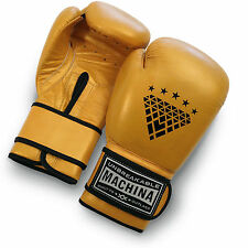 Machina Carbonado 14 Ounce Women's Leather Boxing Gloves - Gray/Yellow-Gold